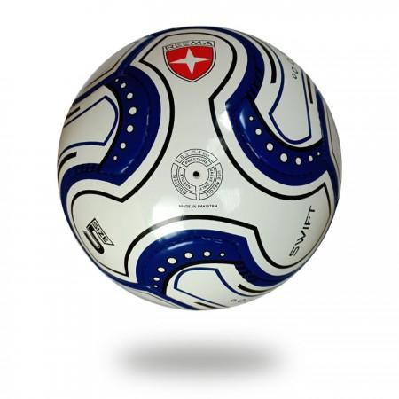 Swift   White and navy blue FIFA Quality match EVA for Softness football