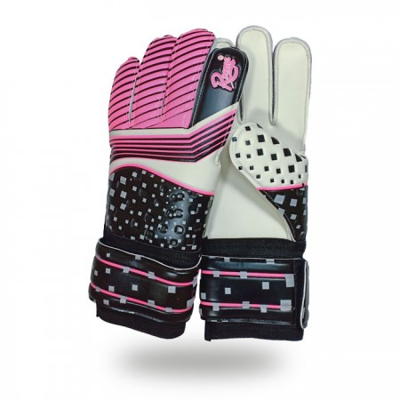 Training Grip |Five Fingers pink and white goalkeeper gloves with white background