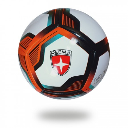 Ultimax 3D | hot red and black pentagon design on white soccer ball with white background