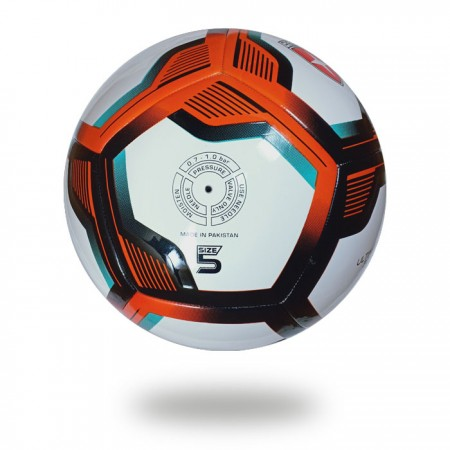 Ultimax 3D | hot red and black pentagon design on white PU Soccer ball