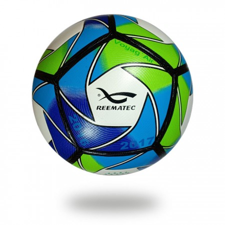 Voyag Air | green and blue artwork on white soccer ball